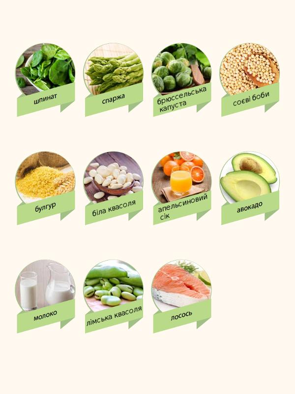 Продукти багаті вітаміном В9